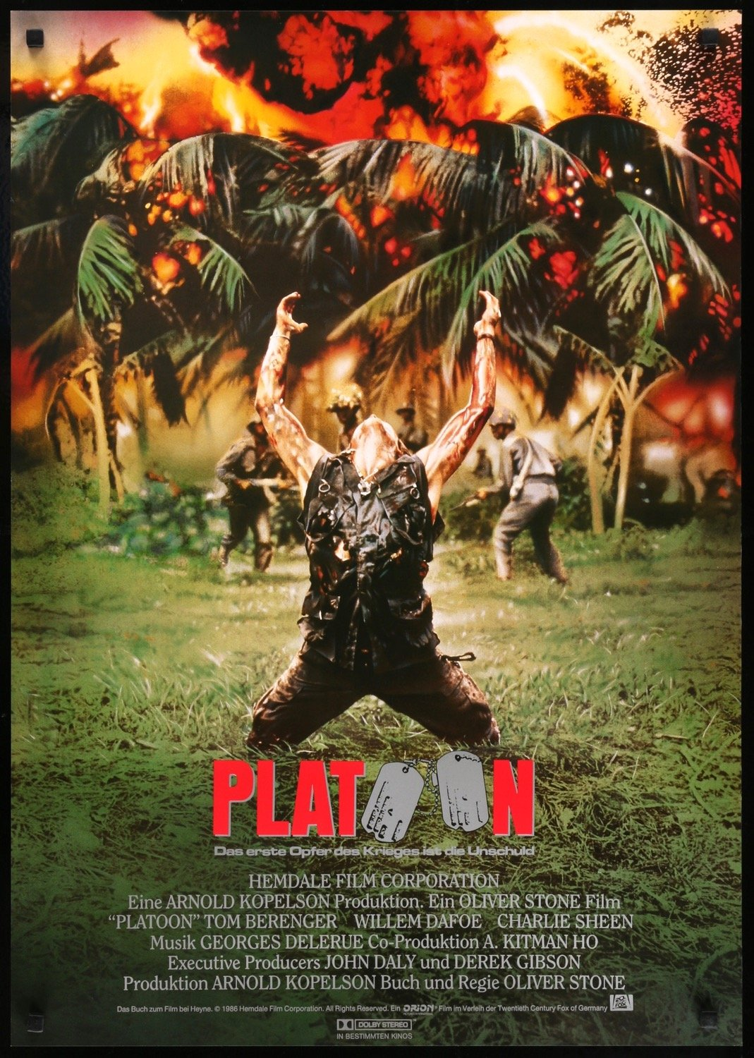 Platoon (1986), German poster, written and directed by Oliver Stone.