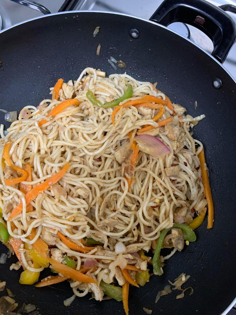 Hakka Noodles in Wok