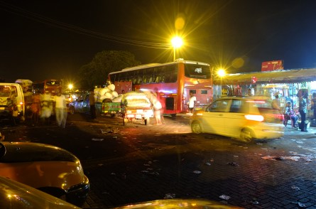 The Bus/taxi station is busy despite it being dark. It was only just dark but considering not everyone has or uses their lights in Ghana it's scary and dangerous to drive after dark