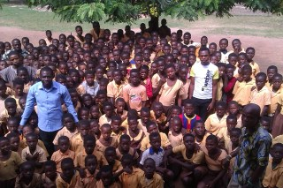 The whole of the Primary school. The man in the blue shirt is Jacob, the headteacher.