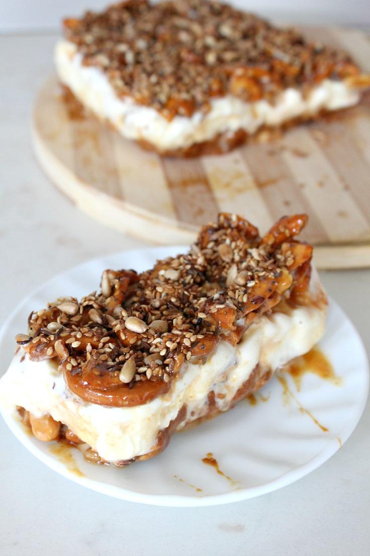 Caramel pretzel ice cream cake