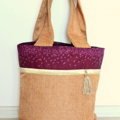 Color Block Tote Bag With Burlap Fabric