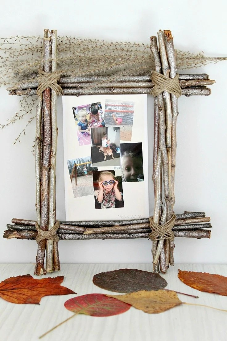Cheap and easy twig frame made with twigs, twine and glitter spray paint