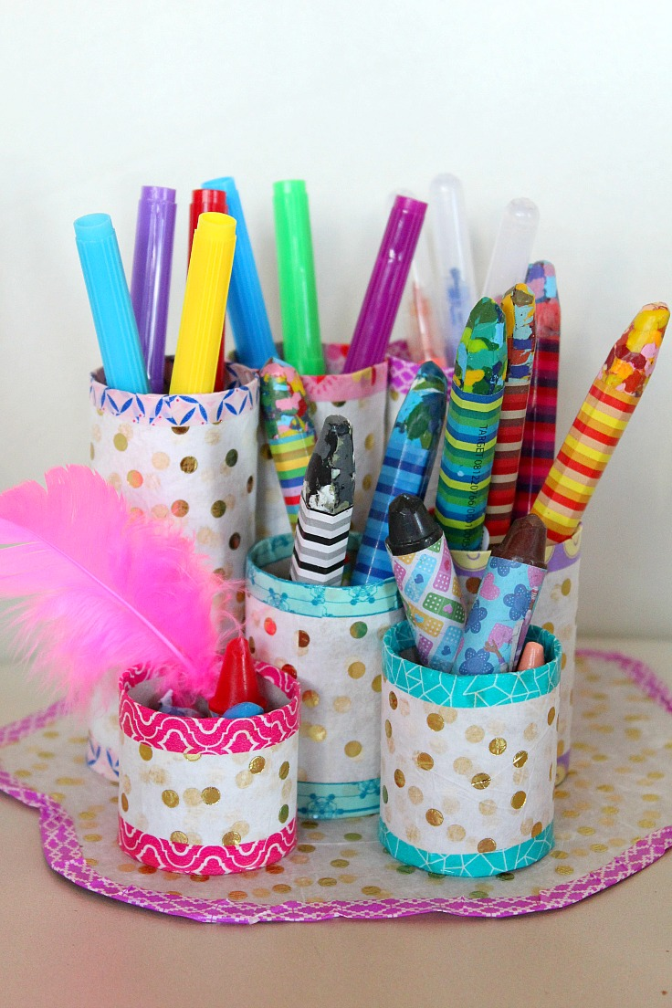 This toilet paper roll organizer is a great project to make with recycled toilet paper tubes.