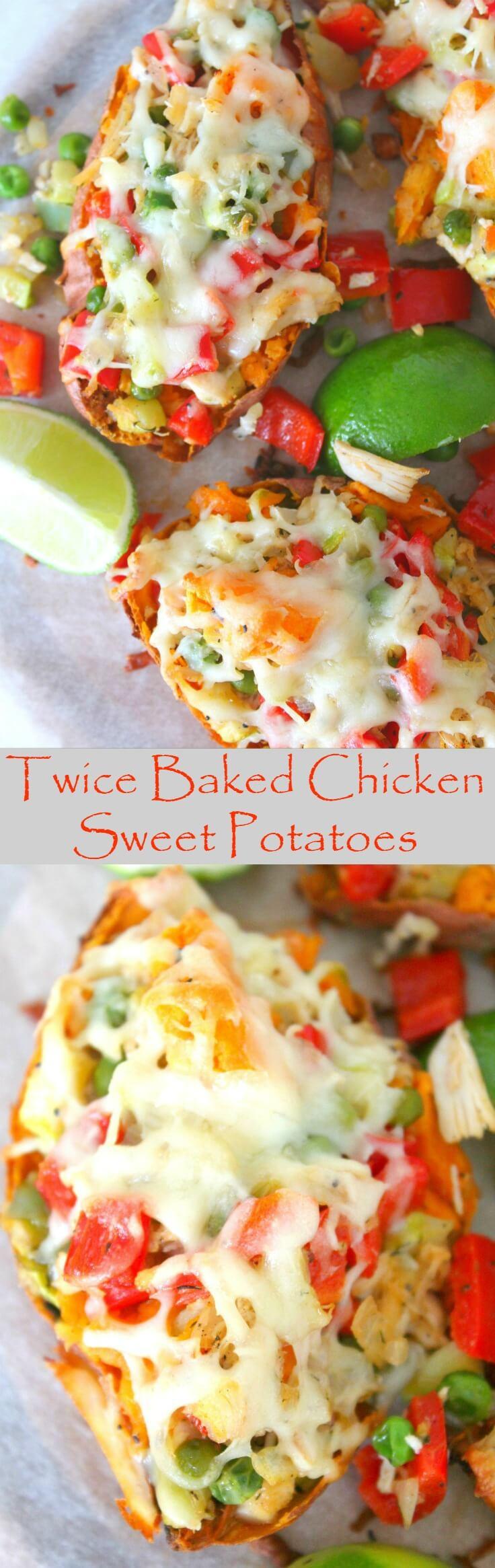 Twice Baked Chicken Sweet Potatoes