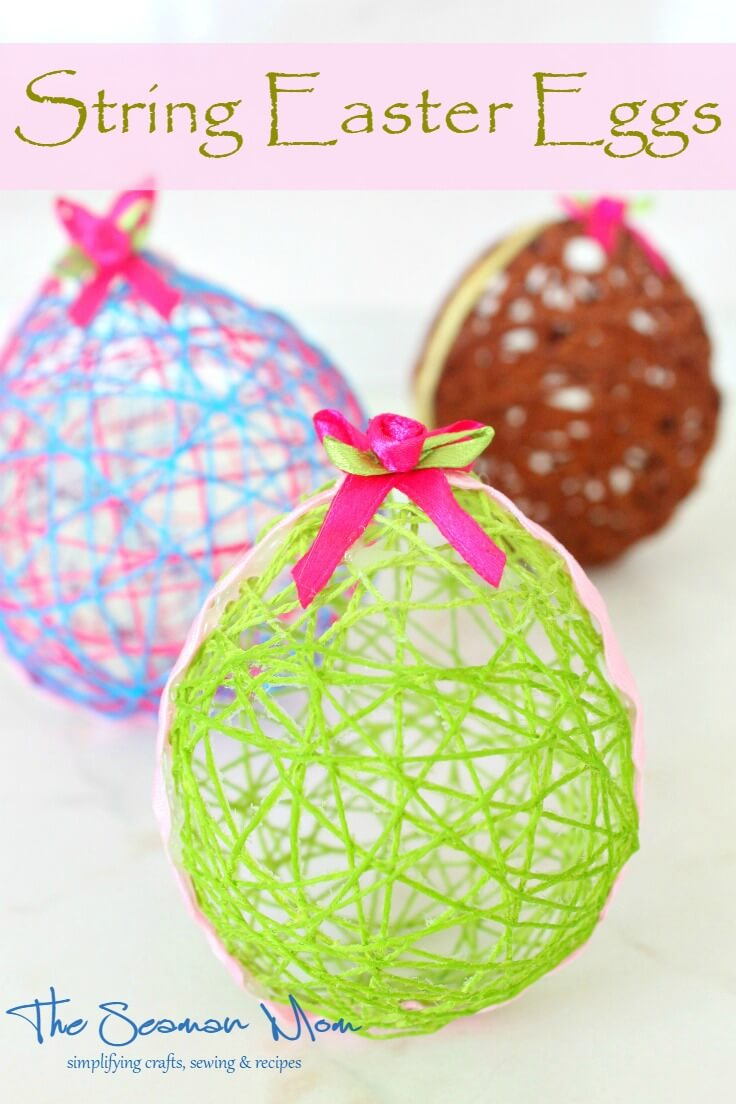 Put a fresh face on your Easter decor with these adorable and easy string Easter eggs! Perfect craft to make with kids!