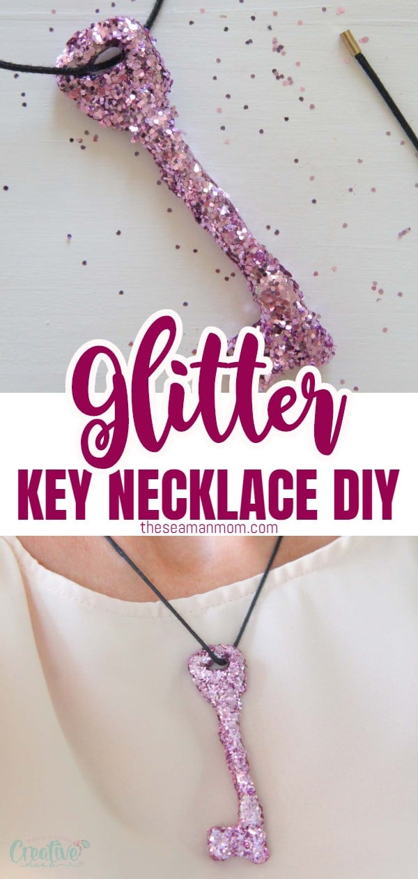 Add some sparkle to your life with this super easy and cute glittery DIY necklace! You won't believe how easy peasy this is! via @petroneagu