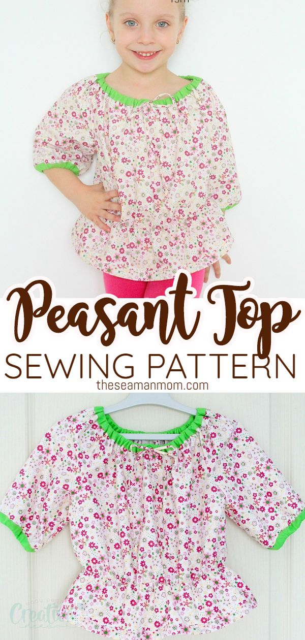 Peasant tops are a staple in every girls wardrobe along with peasant dresses! Such easy sewing patterns for beginners and look simply adorable on little ones. Below is a free peasant blouse pattern for girls! via @petroneagu
