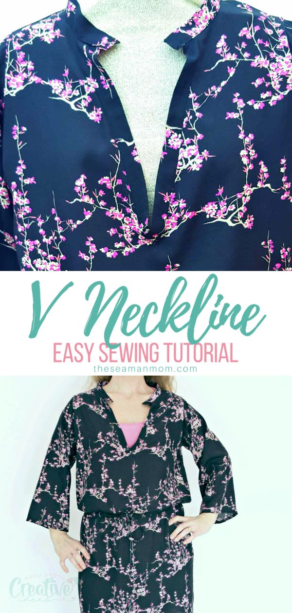 V neck sewing may seem complicated because of the tricky, pointy shape! Here you'll learn how to sew a v neck on a dress or a blouse the easiest and simplest way! via @petroneagu