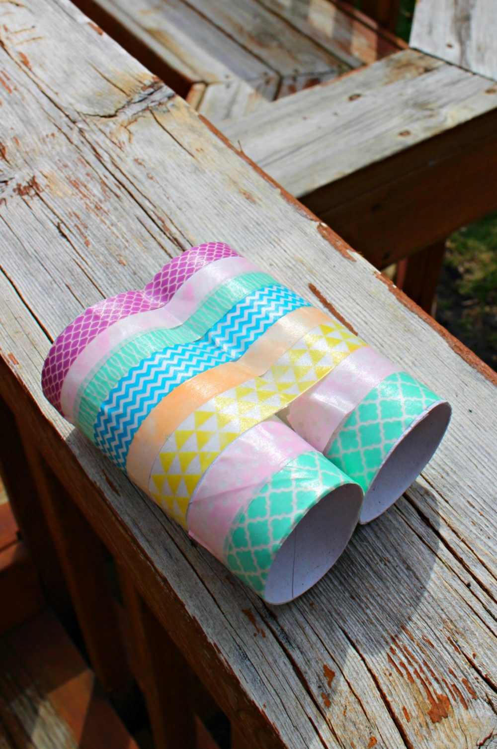 Binocular craft for kids made with toilet paper rolls and washi tape