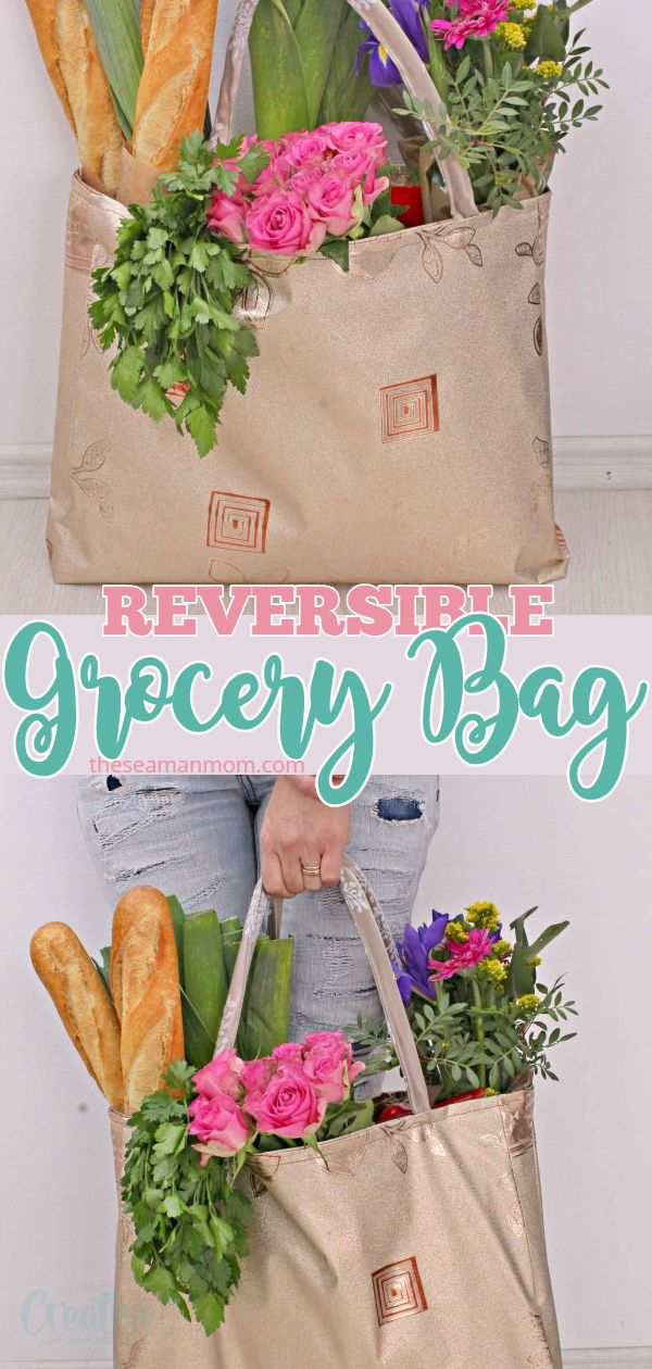 Learn how to make a reusable tote bag that is reversible, sturdy, roomy and durable with this grocery bag pattern! This is the easiest method for making a shopping bag pattern! via @petroneagu