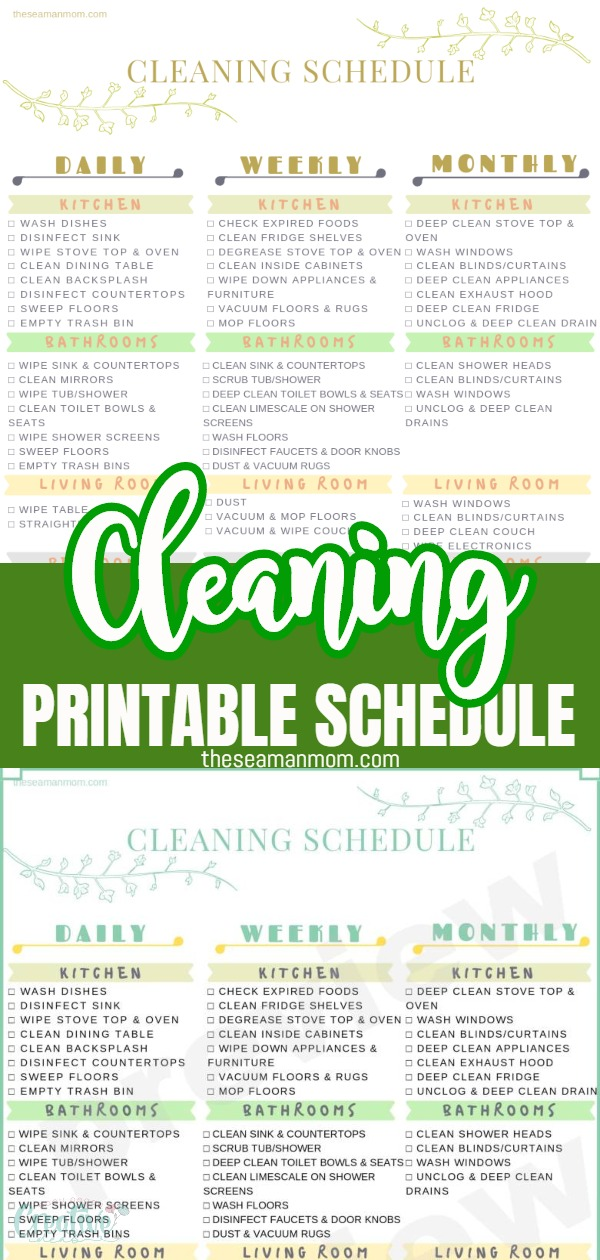 Keeping a clean home is more difficult than you expected? This handy dandy printable cleaning schedule helps you stay on track and keep our home neat and tidy all the time! Here's how to make your home sparkle with thiscleaning schedule printable that covers all daily, weekly and monthly chores! via @petroneagu