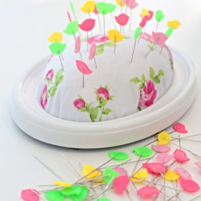 DIY pin cushion from recycled picture frame