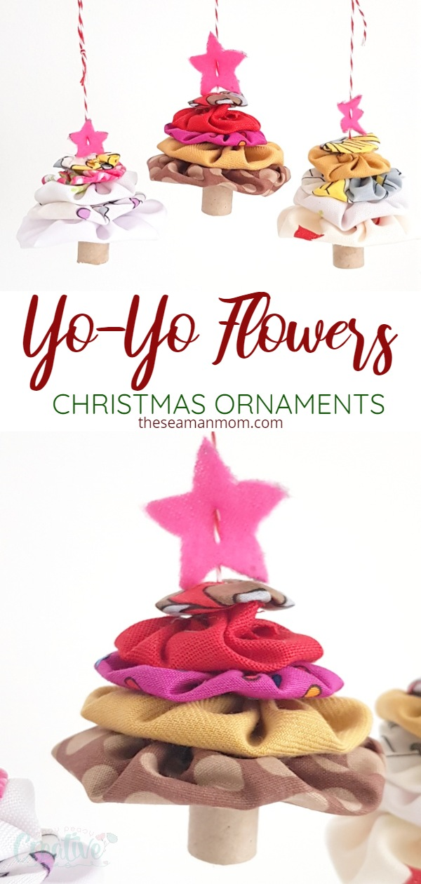These simple and easy yoyo Christmas trees are such a cute gift idea for someone as a thank you this holiday season! Made with just a few layers of fabric flowers, these yoyo Christmas ornaments are the perfect handmade decorations if you're into fabric Christmas ornaments! via @petroneagu