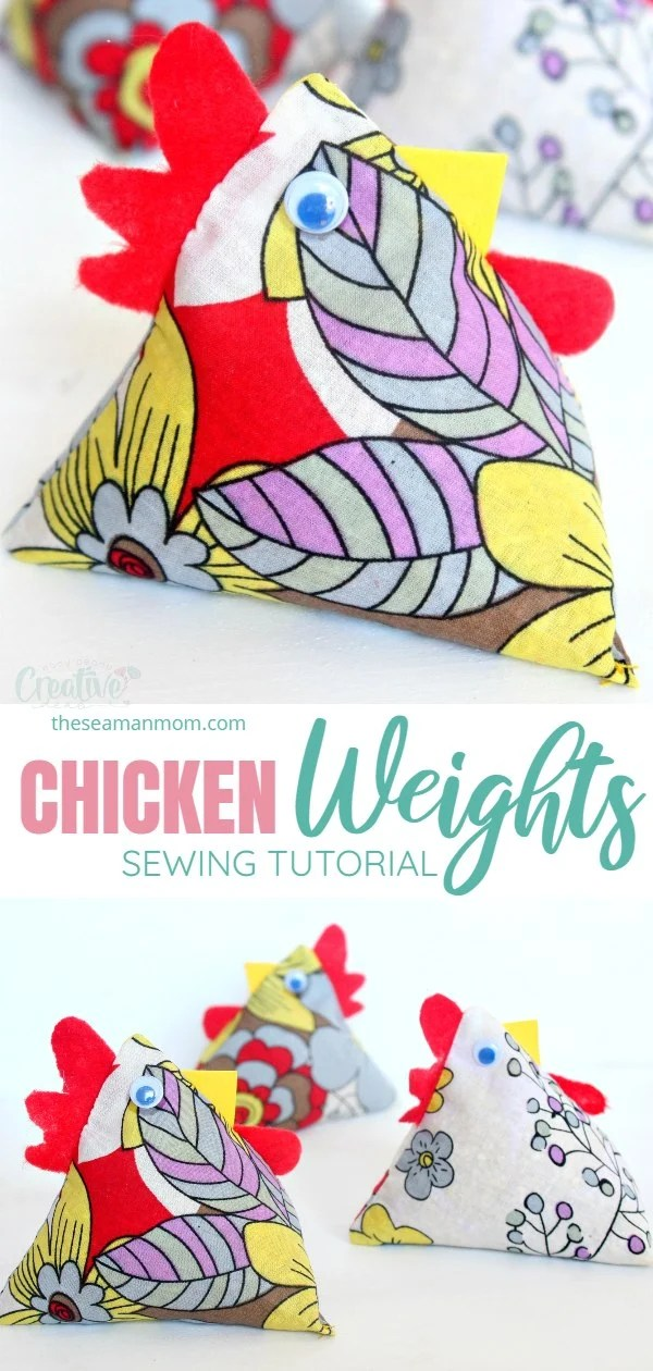 These chicken weights made with fabric are an adorable way to keep your sewing patterns or fabrics from moving! So easy to make and great scrap busters! via @petroneagu