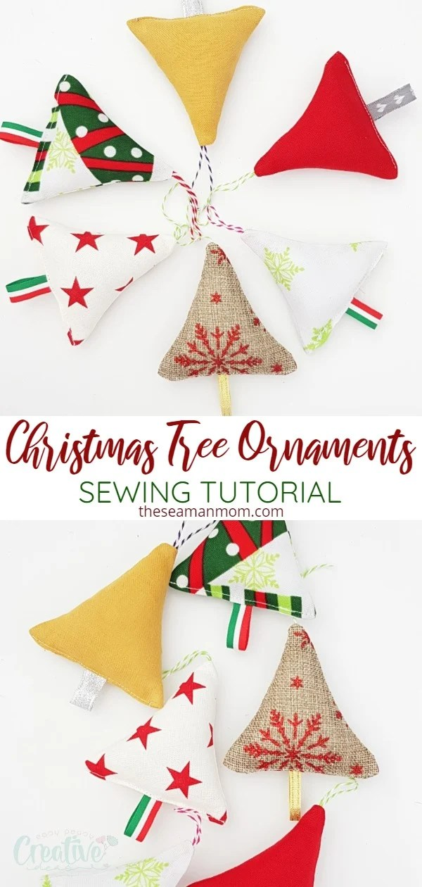 This year add a dose of cuteness to your Christmas tree when you make your own fabric Christmas ornaments! These fabric Christmas tree ornaments are super easy and quick to sew and a great scrap project! via @petroneagu