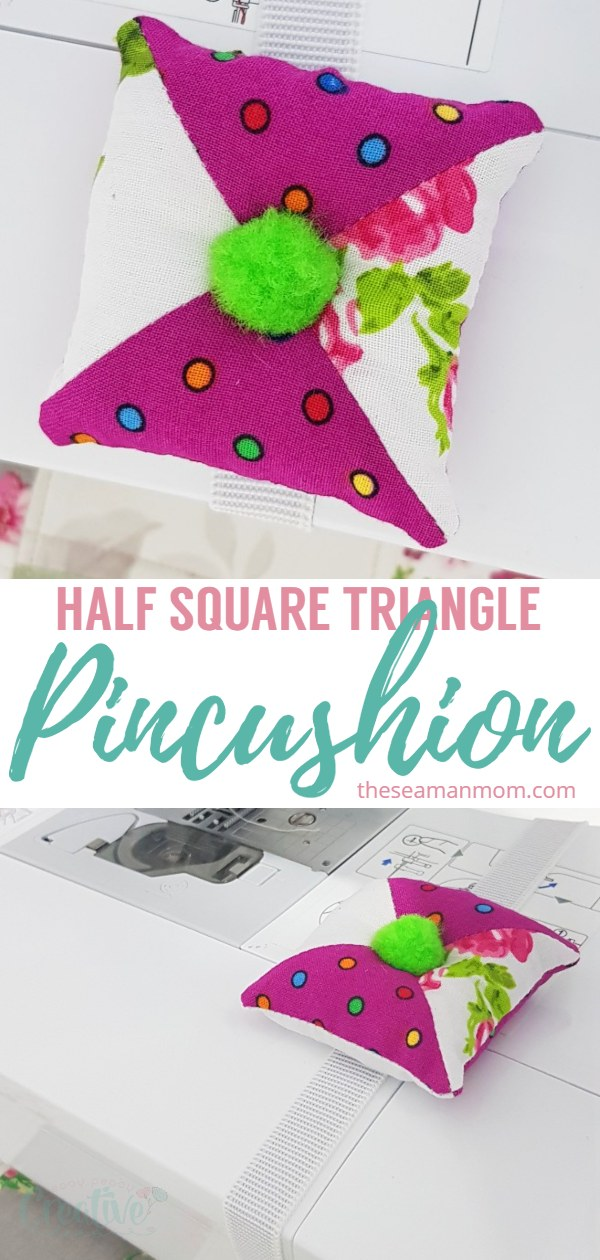 This adorable patchwork pincushion is made from scrap fabrics sewn into half-square triangles and is a great help if you need a handy sewing machine pin cushion! via @petroneagu