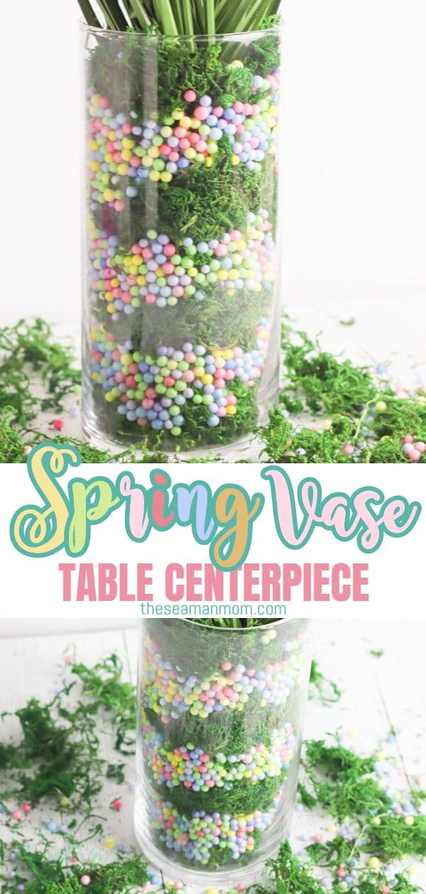If you're looking for easy and cheap spring table decor or spring home decor, make this pastel Spring vase! All you need is a tall vase, some fillers, moss and Spring fronds to create a sweet, fresh, spring look for your home! via @petroneagu