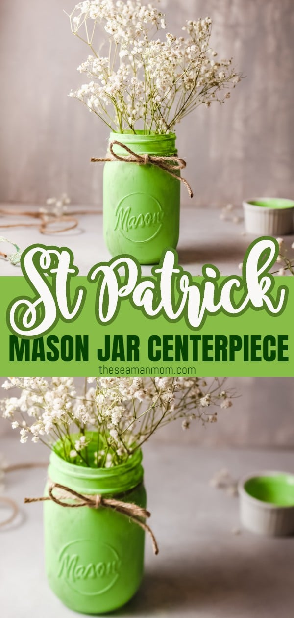 This St Patrick Day centerpiece is a quick and affordable way to decorate your home for the holiday! This simple St Patricks decor can transition from your dining table, to your mantle to your coffee table and even outdoors. Add fresh flowers or candles to create the perfect rustic, farmhouse decor! via @petroneagu