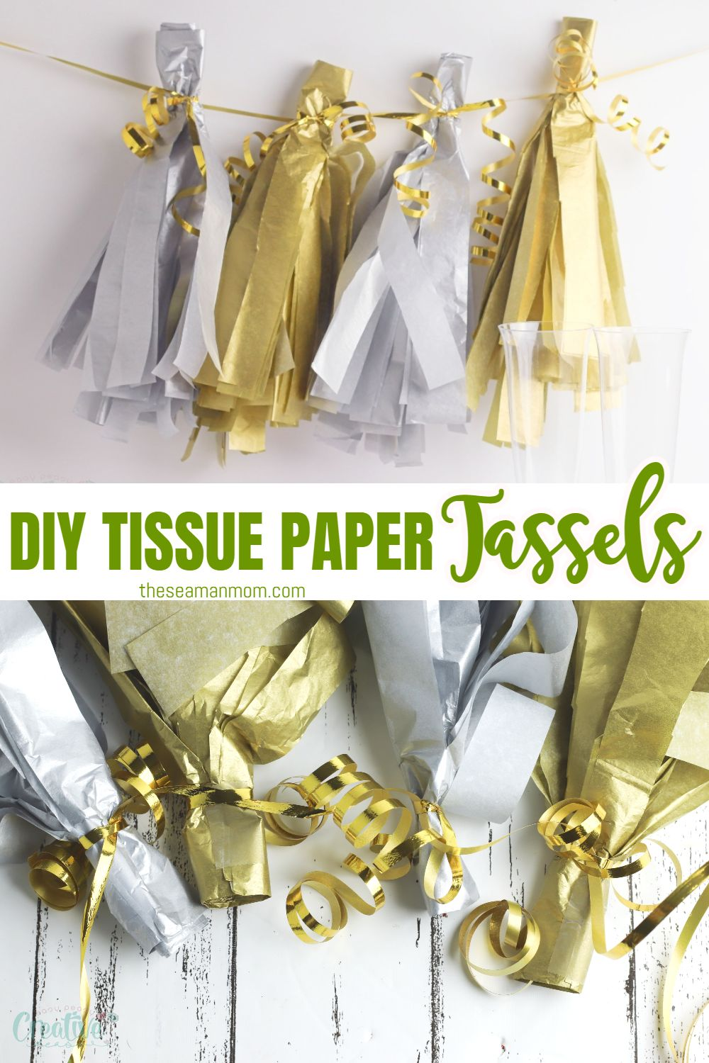 I can't think of a better way to celebrate the New Year than hosting a party with family and friends! And if you're going to be hosting a party, you're going to need some simple party tassels! These easy gold and silver tissue paper tassels are the perfect way to decorate your house on New Year's Eve!   via @petroneagu
