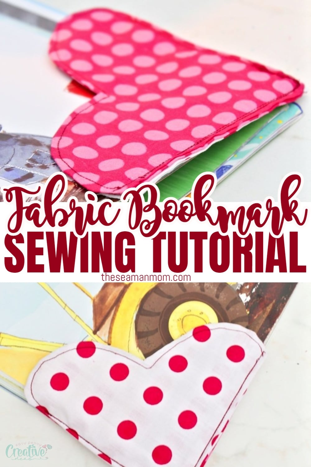"""Looking for fabric bookmark ideas? Sewing bookmarks has never been more enjoyable with these fabric bookmarks! Make your own cute bookmarks for personal use or make a cute heart bookmark as a Valentine's Day gift for a """"bookworm""""! via @petroneagu"""