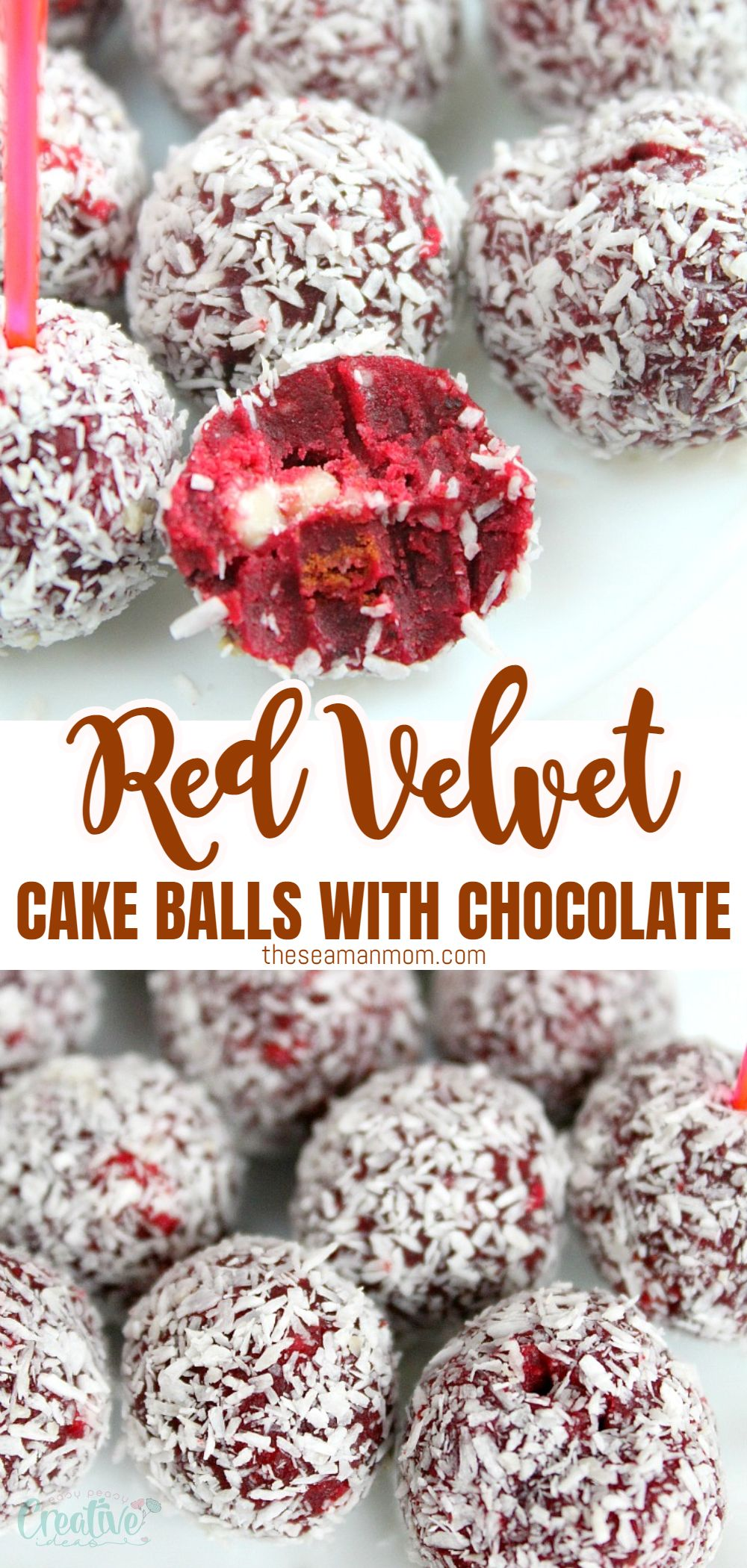 These moist red velvet cake balls with coconut and white chocolate bits are festive, sweet and make a wonderful indulgent treat or gift! This recipe is perfect not only for Valentines but any holiday! via @petroneagu