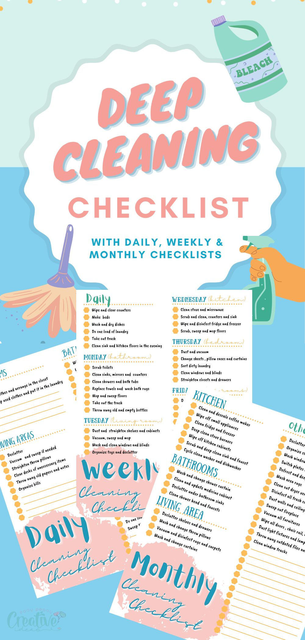Keeping up with all the cleaning you need to do around your house can be pretty exhausting. And if you're not organized, you're probably causing much more work for yourself than you need to. That's why I love using a deep cleaning checklist as I clean. It helps me stay on track and ensures everything gets cleaned on a regular basis. via @petroneagu
