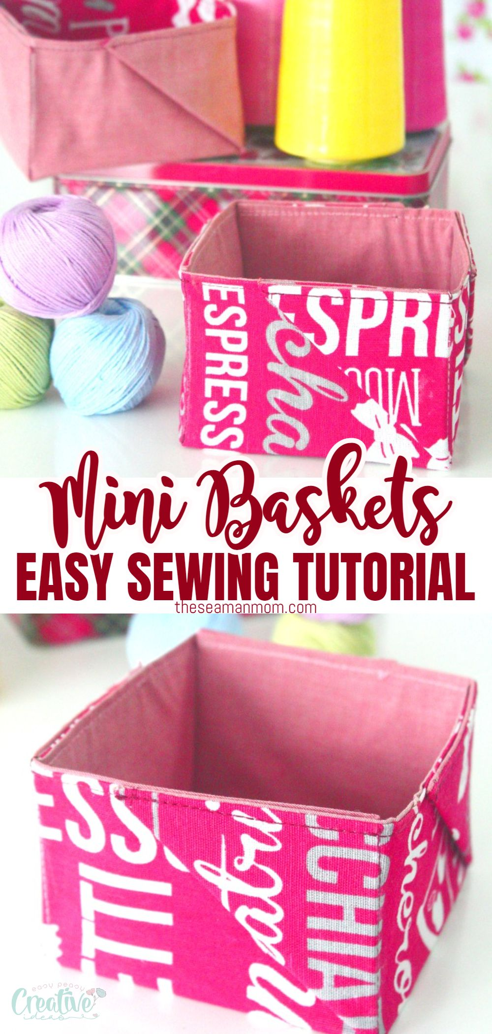 "Everyone needs to organize various items around the house, so we're in constant need of boxes, baskets, bags or any other storing solution. Today I'm going to show you a fabulous fabric baskets tutorial where I make super cute and easy mini ""pinwheel"" baskets with fabric, to store smaller stuff like sewing notions or makeup, small toys, hair accessories etc. via @petroneagu"