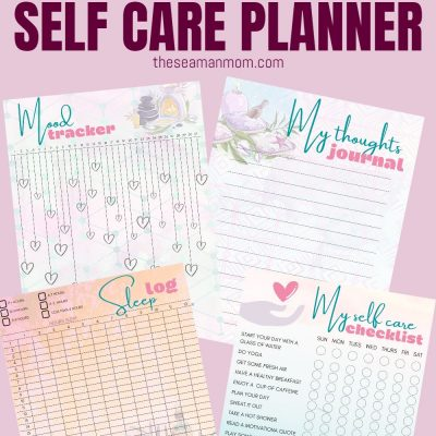 Printable self care planner to keep track of your well-being