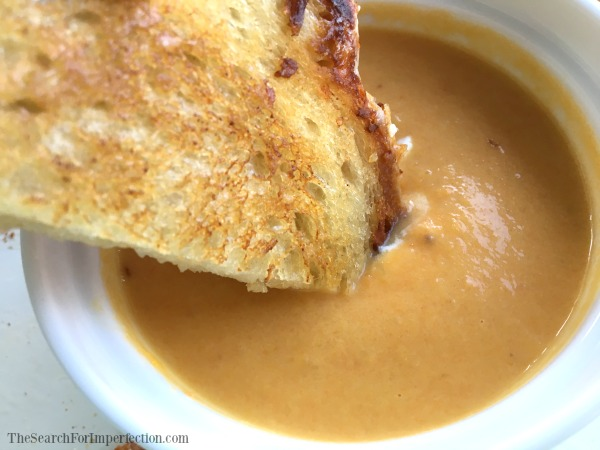 Grilled Cheese Dipped in Carrot Ginger Soup