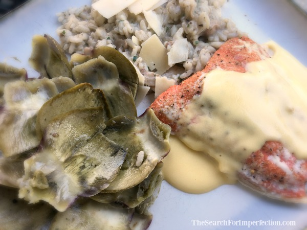 Baked Salmon, Artichoke, and Risotto, Topped w/Hollandaise Sauce