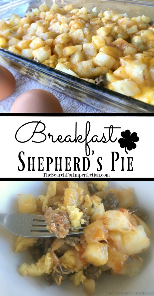 How can you go wrong with eggs, sausage, potatoes, cheese, and veggies? This Breakfast Shepherd's Pie is unique and delicious. #breakfastdish #breakfastcasserole #breakfastshepherdspie #thesearchforimperfection