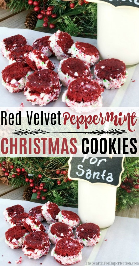Red Velvet Peppermint Christmas Cookies are an awesome twist to the traditional cookies. #christmascookie #redvelvetpeppermint