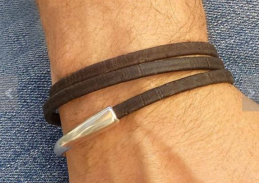 Vegan Leather and Metal Bracelet