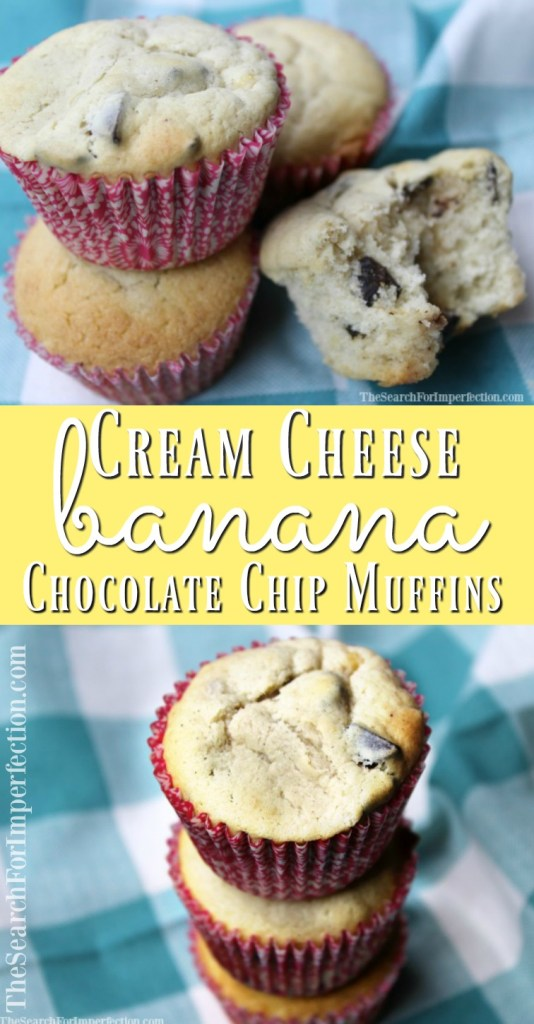 These Cream Cheese Banana Chocolate Chip Muffins are so moist and delicious, I could eat them every day for breakfast!