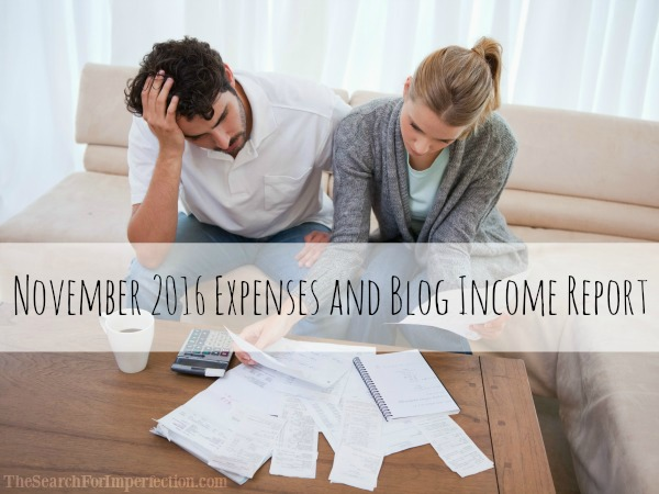 November 2016 Expense and Income Report for the blog The Search for Imperfection.