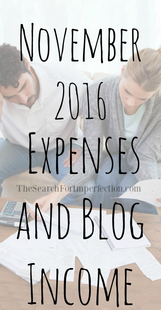 It's time again for your monthly dose of finances, here in our November 2016 Expense and Blog Income Report!