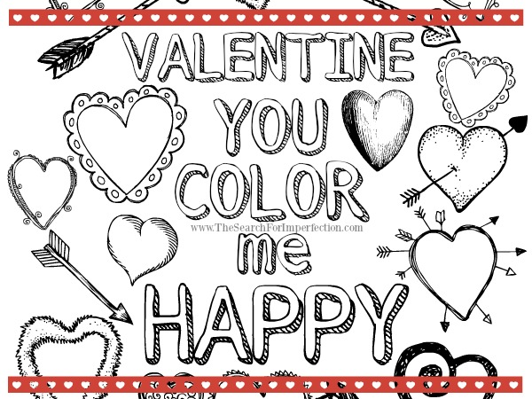"Kids Valentine Printable Coloring Page – ""You Color Me Happy"""