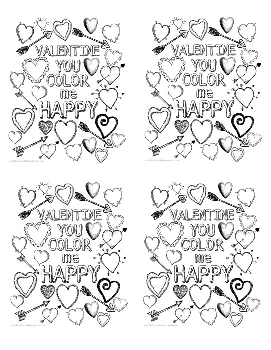 Valentine Printable Coloring Page 4 Up