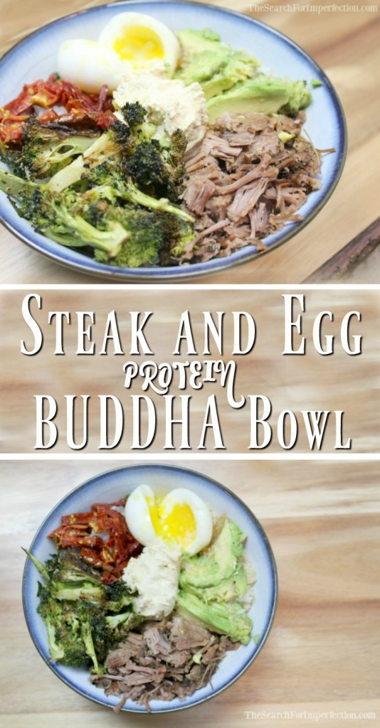 Buddha bowls are super yummy, and healthy! Try this steak and egg protein bowl.