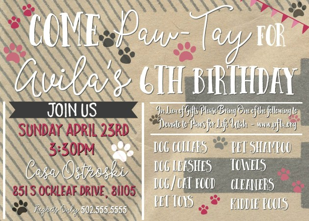 Animal Shelter Donation Party Invitation