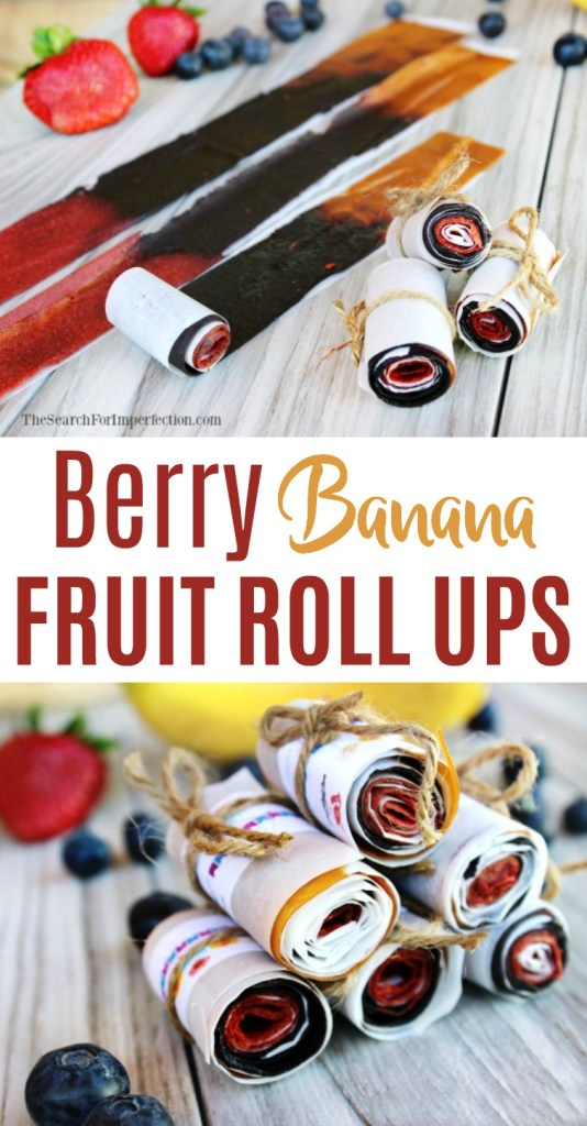 These Berry Banana Homemade Fruit Roll Ups are incredibly easy to make, and a fun activity to do with your kids!