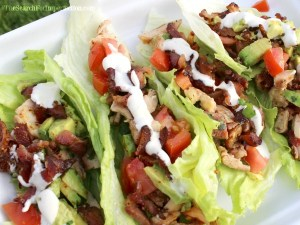 Chicken, Bacon, Avocado, Ranch Lettuce Wraps