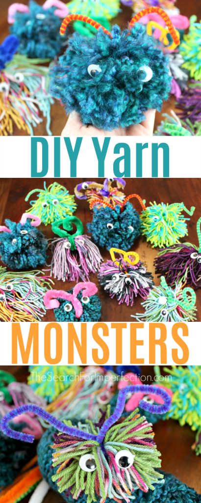 These are the cutest little yarn monsters EVER!!! And they look so easy to make. #yarnmonster #diykidscraft #easykidscraft www.thesearchforimperfection.com