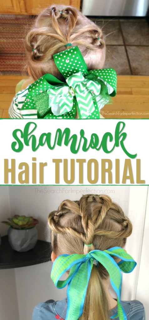 This St. Patrick's Day Shamrock Hair Tutorial is surprisingly quick and easy! #shamrockhairtutorial #girlshairtutorial #holidayhair #thesearchforimperfection
