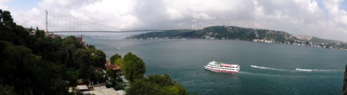The Bosphorus as seen from the 15th century fortress of Rumeli. Sultan Mehmed II took Constantinople from the Byzantines in 1453 using the fortress as his base.