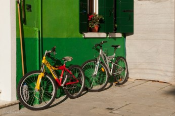 A green wall makes a stunning background for two bikes.