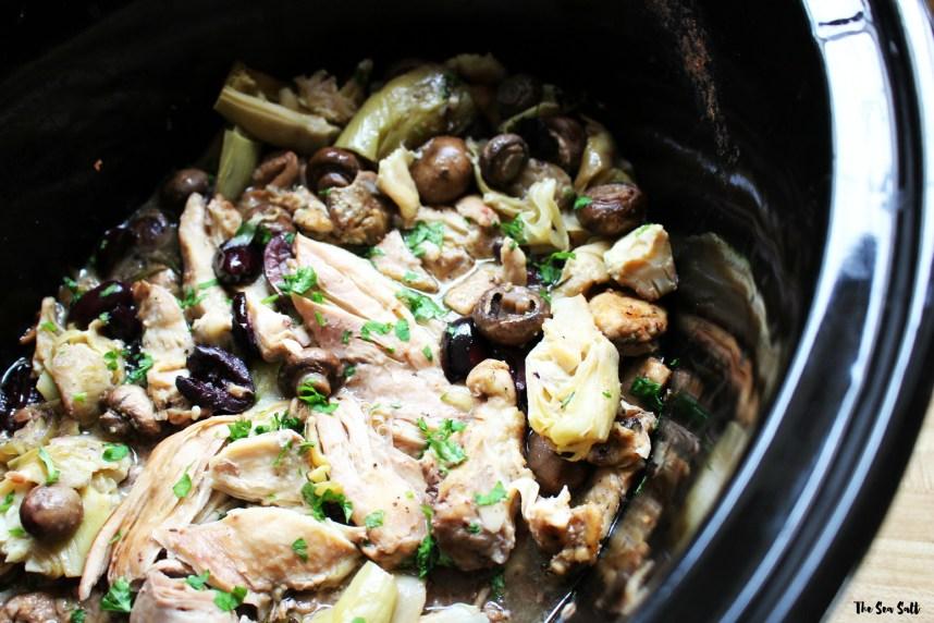 Crockpot Lemon Garlic Chicken with Artichokes and Fresh Herbs