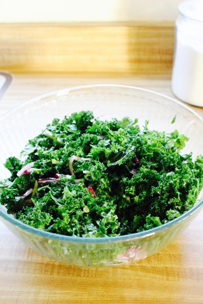 Autumn Kale Salad with Cider Vinaigrette