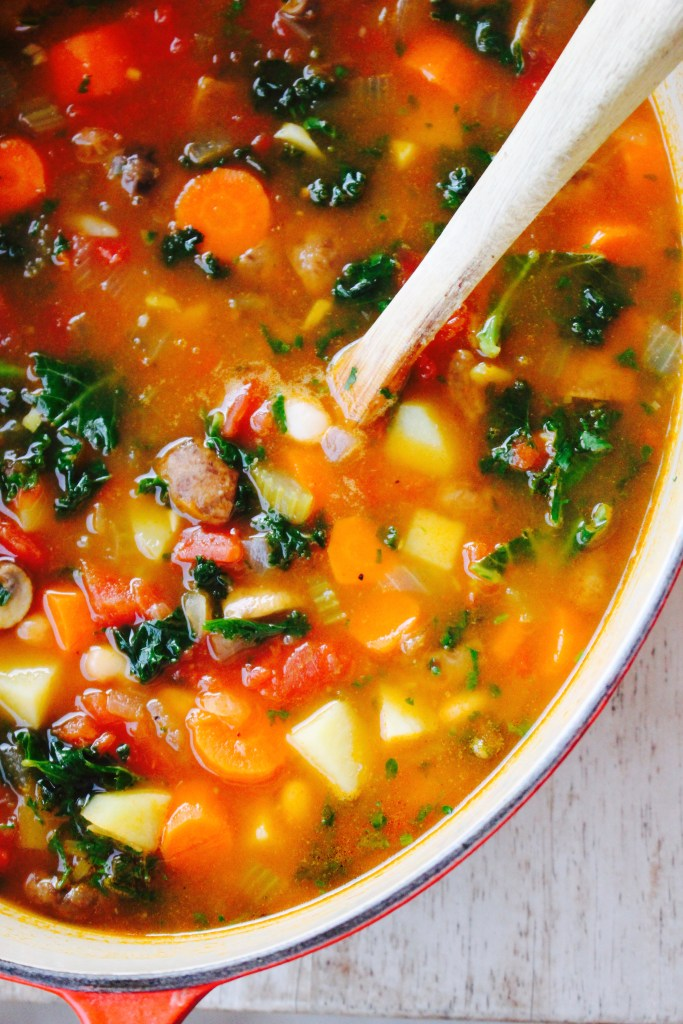 Hearty Vegetable Soup with White Beans & Kale